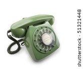 green 70s 80s vintage telephone | Shutterstock . vector #51321448