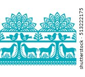 seamless polish folk art... | Shutterstock .eps vector #513222175
