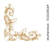 gold vintage baroque corner...   Shutterstock .eps vector #513228169
