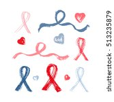 blue and pink ribbons grunge... | Shutterstock .eps vector #513235879