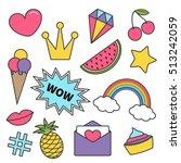 quirky cartoon sticker patch... | Shutterstock .eps vector #513242059
