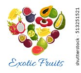 exotic fruits heart symbol.... | Shutterstock .eps vector #513251521