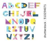 alphabet geometric funny font.... | Shutterstock .eps vector #513254071