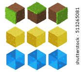 cartoon isometric game brick...