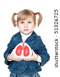 little girl with lungs in hand - stock photo