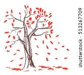 wax crayon hand drawn autumn... | Shutterstock .eps vector #513267709