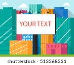 blank big billboard in big city ... | Shutterstock .eps vector #513268231