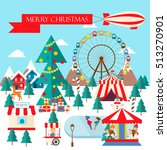merry christmas greeting card... | Shutterstock .eps vector #513270901