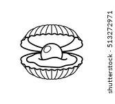 black pearl in shell line gift... | Shutterstock .eps vector #513272971