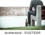 man depressed with wine bottle... | Shutterstock . vector #513273205
