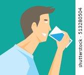 a man drinking water vector | Shutterstock .eps vector #513280504