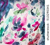 abstract floral watercolor... | Shutterstock . vector #513290341