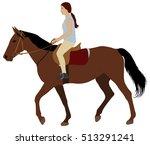 Girl Riding A Horse   Vector...