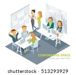people working in co working... | Shutterstock .eps vector #513293929