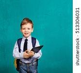 cheerful smiling little boy... | Shutterstock . vector #513306031