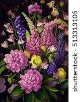 bouquet of peonies. watercolor   Shutterstock . vector #513313105