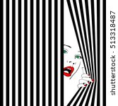 fashion woman behind curtain.... | Shutterstock .eps vector #513318487