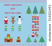 big christmas set in style of... | Shutterstock .eps vector #513321451