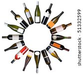 Wine Bottles Circle Over White - Fine Art prints