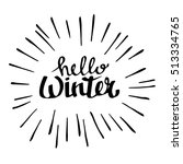 hello winter text on red knit...   Shutterstock .eps vector #513334765