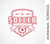 soccer emblem red line icon on... | Shutterstock .eps vector #513342121