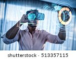 Stock photo digitally generated image of medical device interface against businessman using an oculus 513357115