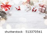 christmas decorations on white... | Shutterstock . vector #513370561