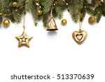 fir branches with decorations... | Shutterstock . vector #513370639