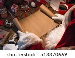 santa claus with gifts and wish ... | Shutterstock . vector #513370669