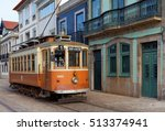old yellow porto tramway in the ... | Shutterstock . vector #513374941