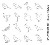 bird set icons in outline style.... | Shutterstock .eps vector #513375229