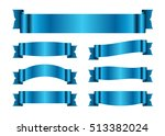 blue ribbons set. satin blank... | Shutterstock .eps vector #513382024