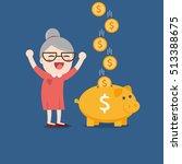 grandma with golden piggy bank  ... | Shutterstock .eps vector #513388675