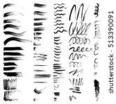 vector set of black brush... | Shutterstock .eps vector #513390091