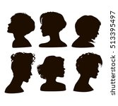 vector silhouettes of girls... | Shutterstock .eps vector #513395497