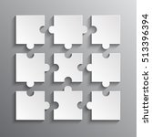 9 white puzzles pieces arranged ... | Shutterstock .eps vector #513396394