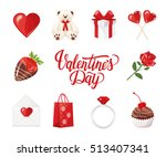 valentine's day icons  teddy...   Shutterstock .eps vector #513407341