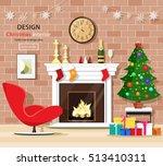 christmas room interior set...   Shutterstock .eps vector #513410311