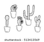 cactus set of on a white... | Shutterstock .eps vector #513413569