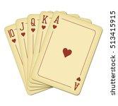 royal flush of hearts   vintage ... | Shutterstock .eps vector #513415915