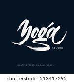 yoga studio concept logo design.... | Shutterstock .eps vector #513417295