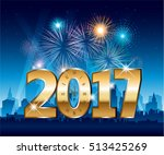 golden 2017 numbers happy new... | Shutterstock .eps vector #513425269