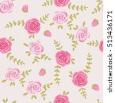 pink roses. graphic print.... | Shutterstock .eps vector #513436171