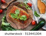 Stock photo vegan lasagna with vegetables view from above 513441304