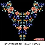 embroidery ethnic flowers neck... | Shutterstock .eps vector #513441931
