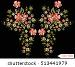 embroidery ethnic flowers neck... | Shutterstock .eps vector #513441979
