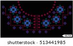 embroidery ethnic flowers neck... | Shutterstock .eps vector #513441985