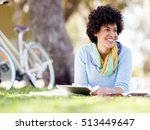 young woman using tablet in the ... | Shutterstock . vector #513449647