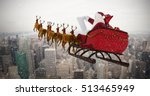 Santa Claus Riding On Sled...