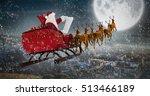 Santa Claus Riding On Sled...